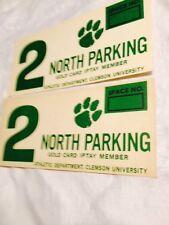 Vtg Clemson University Green On White Card Stock Parking Pass Cards   TigarPaw#2