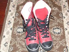 Colin Stuart Leather Red High Tops Hi sneakers Women Size 7 Youth Size 5.5