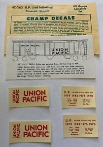 CHAMP HO DECAL - UNION PACIFIC / UP COVERED HOPPER - GRAY CAR w/RED LETT -HC-262