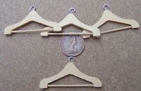1:12 Scale Set Of 4 Wooden Coat Hangers Dolls House Miniature Bedroom Accessory