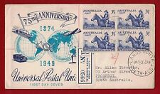 1949 Australia 10 October FDC UPU registered to SA four back stamps