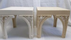 Two Vtg Burwood Mid Century Chinoiserie BAMBOO Hollywood Regency Cube End Tables