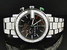 Fully Iced Out Mens Diamond Gucci YA101331 Watch 12 Ct