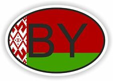 OVAL FLAG WITH BY BELARUS COUNTRY CODE STICKER CAR MOTOCYCLE AUTO TRUCK