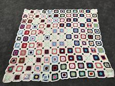 Vintage Hand Crocheted Wool Afghan Blanket Throw Multi Granny Squares Patchwork
