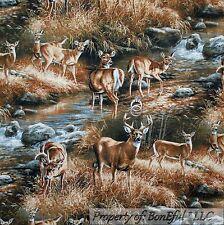 BonEful Fabric FQ Cotton Quilt Deer Scenic Buck Doe Brown Water Stream Hunt Tree