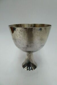 STERLING SILVER 925 CHALICE SMALL CHURCH HOLY COMMUNION CUP HAND BEATEN GOBLET
