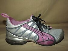 "WOMENS WORN TWICE ""PUMA"" GRAY AND PURPLE NYLON & MESH SIZE 6 1/2 M EXCELLENT"