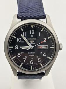 Seiko 5 Sports Automatic Military Blue Canvas Mens Watch SNZG11K1