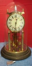 "Kundo 1950s Anniversary Clock Made in West Germany With Key Glass Dome 12"" Tall"