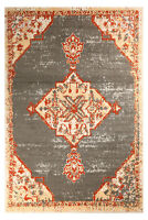 Distressed Bohemian - 5'x 8', Dark Grey, Moroccan Oriental Area Rug - 501