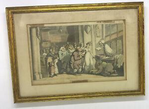 1815 Thomas Rowlandson DANCE OF DEATH hand colored aquatint THE WEDDING