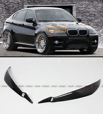 08-2014 BMW E71 X6 X6M REAL CARBON FIBER HEADLIGHT EYE LID COVER PAIR EYEBROWS