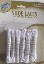 SHOELACES 6 PAIR (12) OF WHITE ASSORTED SIZES SHOE STRINGS LACES @MY OTHER ITEMS