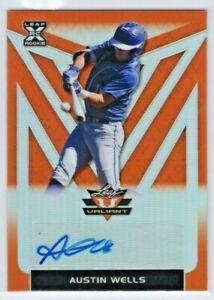 Austin Wells 2020 Leaf Valiant /75 Orange Rookie Autograph New York Yankees