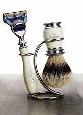 3 Piece Men's Shaving Set(Sliver Tip Hair Brush,Gillette Fusion Razor & Holder).