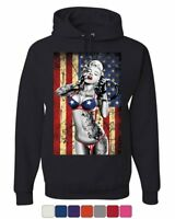 Marilyn Monroe US Flag Hoodie Freedom Sexy Girl Tattoos Gangsta Sweatshirt