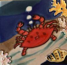 Red Crab Ceramic Decorative Wall Art Tile 4x4 New