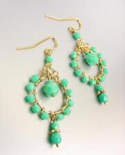 "Urban Artisanal Aqua Blue Aventurine Crystals Gold Chandelier 2"" Earrings"