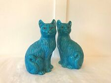 Vintage mid century pair of turquoise pottery ceramic porcelain cats figurines