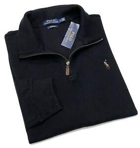 Polo Ralph Lauren Men's Quarter Zip Cotton Sweater In Black RRP£120