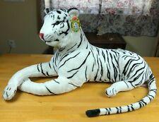 "Melissa & Doug Jumbo Plush White Bengal Tiger Realistic Big Cat Stuffed 39"" Tag"