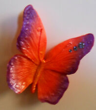 Jeweled Crystal Wings Butterfly, Purple & Orange Fridge Magnet New Made in Usa