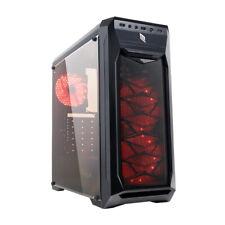 CASE ATX USB 3.0 PC GAMING 3 VENTOLE 15 LED ROSSO PANNELLO LATERALE PLEXIGLASS