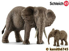 Schleich AFRICAN ELEPHANT & CALF solid plastic toy wild zoo animal * NEW *💥