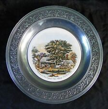 """Currier & Ives Autumn in New England Cider Making 10.5"""" Pewter Plate Canton Ohio"""