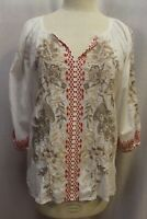 Johnny Was JW Los Angeles biya 3J Workshop Embroidered White Blouse Tunic Top S