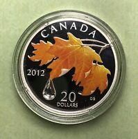 Canada 2011 Bigleaf Swarovski Crystal Raindrop $20 Pure Silver Color Maple Leaf