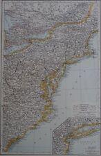 Victorian Mappa 1896 della USA STATI UNITI-NORD ORIENTALE ATLANTE i tempi di 1st generazione