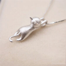 Fashion Jewelry Women Men Cute 925 Silver Animal Cat Pendant Chain Necklace