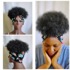 2in1 Wrapwig Fusion Kinky-Curly Afro Wig | Ponytail | Wigs Feel Headband Wig