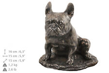 French Bulldog Memorial Urn for Dog's ashes,with Dog statue.Solid Wood Casket