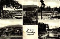 BRAUNLAGE Harz AK 1953 Mehrbildkarte 5 Ansichten ua. Gondelteich, Harzer Kätze