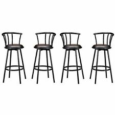 New Indoor Set of 4 Metal Black Swivel Vinyl Seat Pub Bar Stools Chairs Barstool
