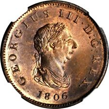 1806 Great Britain 1/2 Penny, NGC MS 66 RB, Scarce 3 Berry Variety, Superb