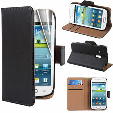 Samsung Galaxy S3 Mini Black Genuine Leather Flip Folio Wallet Stand Case Cover