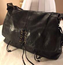 Kooba Annie Corset Lace Large Black Leather Shoulder Handbag Purse RARE Tote