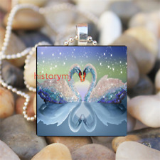 Swan Animal Cabochon Glass Tile Ball Chain Pendant Necklace Art gift Jewelry HOT