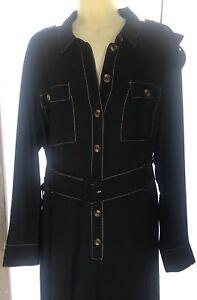 Lightweight Navy Blue/White Seam Jumpsuit Plus size18 Button Front with Belt