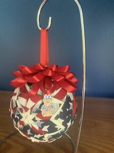 Pristine Patriotic July 4th Quilted Ornament Ball W Uncle Sam Bear Charm