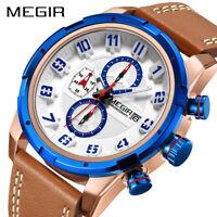 Megir Men Army Sport Watches Digital Quartz Leather band Waterproof Wrist Watch