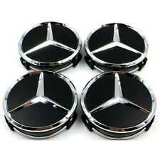 4 x MERCEDES BENZ BLACK ALLOY WHEEL CENTRE CAPS 75MM CENTER A B C E CLASS