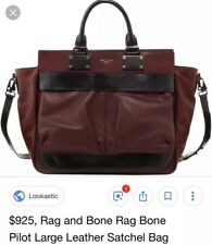 Rag & Bone New York Burgundy Genuine Leather Large Pilot Bag $925 Satchel