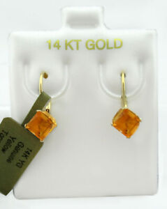 GENUINE 1.42 Cts YELLOW TOPAZ DANGLING EARRINGS 14K GOLD ** Free Certificate **