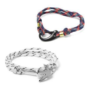 Pack of 2 Paracord Bracelet with Carabiner Anchor Hooks Wristband for Men, Women