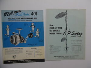 1960 Art Wire & Stamping Co Fishing RuMer 401 Reel CP Swing Lure Catalog Sheets
